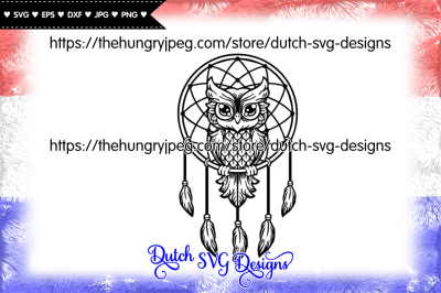 Dreamcatcher cut file with owl, dreamcatcher svg, owl svg