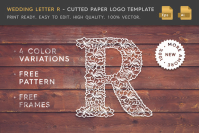 Wedding Letter R - Cutted Paper Logo Template