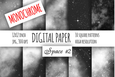 Monochrome galaxy digital paper. Starry sky and Science fiction