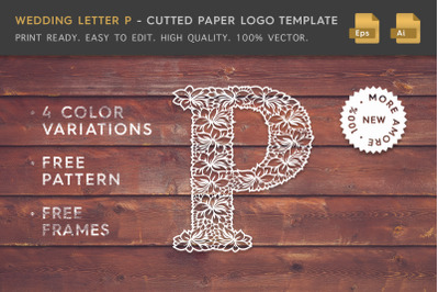 Wedding Letter P - Cutted Paper Logo Template