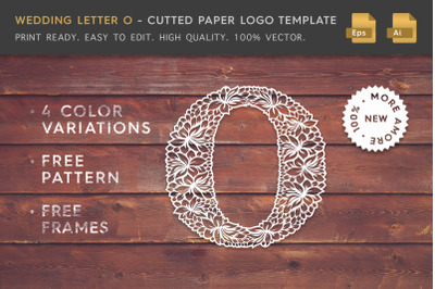 Wedding Letter O - Cutted Paper Logo Template