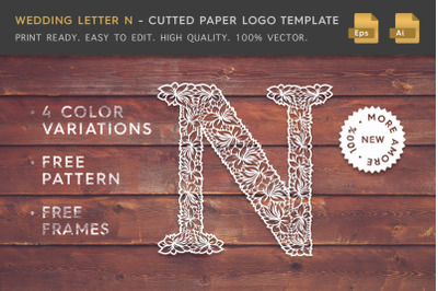 Wedding Letter N - Cutted Paper Logo Template