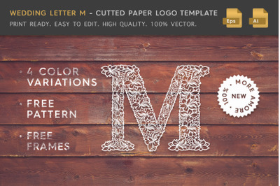 Wedding Letter M - Cutted Paper Logo Template