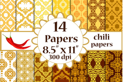 Damask Digital Papers, Damask Background, 8.5x11 inches