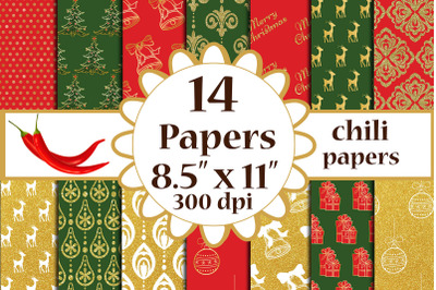 Christmas Digital Papers, Christmas patterned papers A4