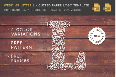 Wedding Letter L - Cutted Paper Logo Template