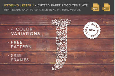Wedding Letter J - Cutted Paper Logo Template