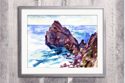 Watercolor sea and rocks