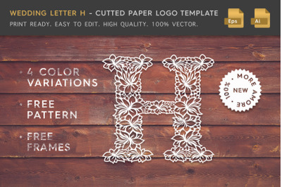 Wedding Letter H - Cutted Paper Logo Template