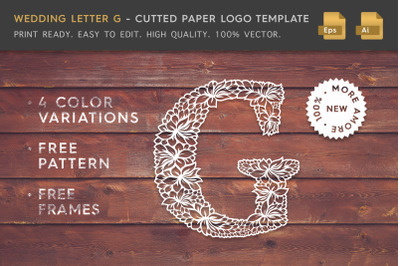 Wedding Letter G - Cutted Paper Logo Template
