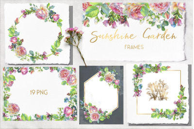 Pink rose watercolor wedding clip art, floral frame clipart