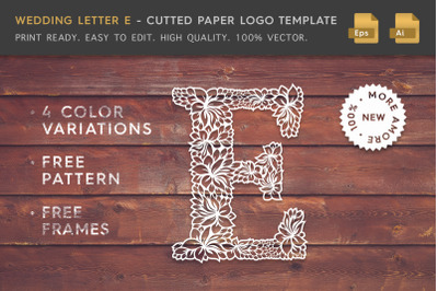 Wedding Letter E - Cutted Paper Logo Template