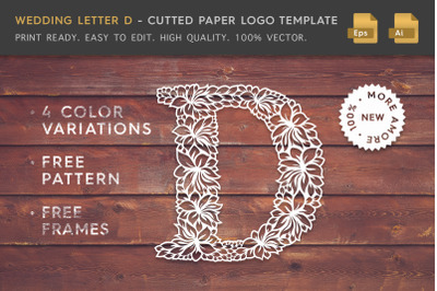 Wedding Letter D - Cutted Paper Logo Template