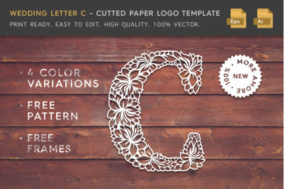 Wedding Letter C - Cutted Paper Logo Template