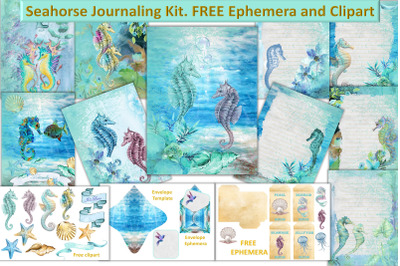 Seahorse background papers with Free clipart