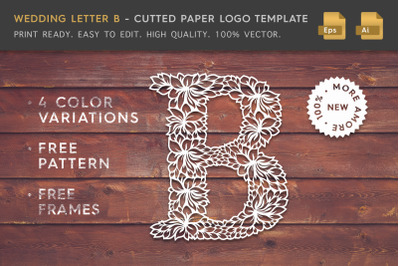 Wedding Letter B - Cutted Paper Logo Template