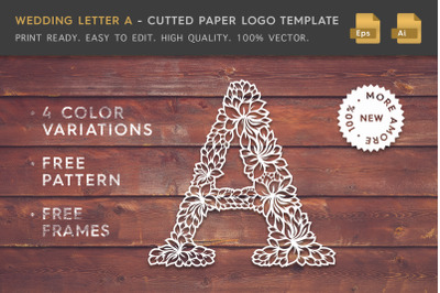 Wedding Letter A - Cutted Paper Logo Template