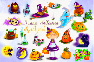 Cute Halloween clipart bundle