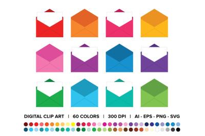 Open Mail Letter Envelope Clip Art Set