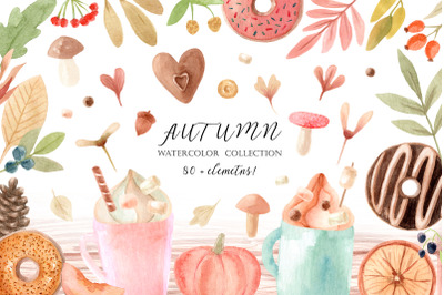 Watercolor Autumn Clipart Collection. Cozy patterns and illustrations