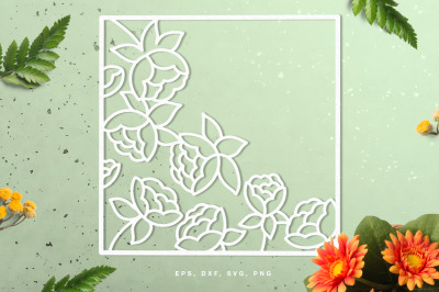 Square floral frame cut file