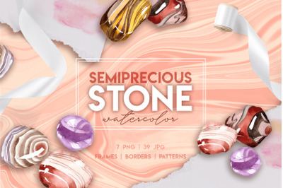 Semiprecious Stones Watercolor Clipart, Gemstone, Hand Painted, Weddin
