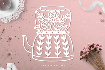 Teapot with flowers cut file