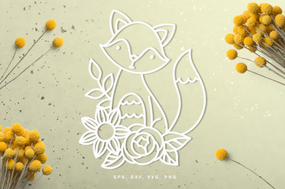 Cute fox in florals cut file
