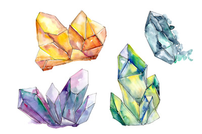 Geometric Crystals Watercolor Clipart, Gemstone, Valentine Day, Hand P