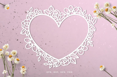 Floral Valentine's Day heart frame cut file