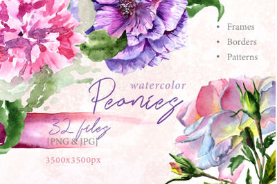 Peony Watercolor Set, Hand Painted Flowers, Free Commercial Use, Perso