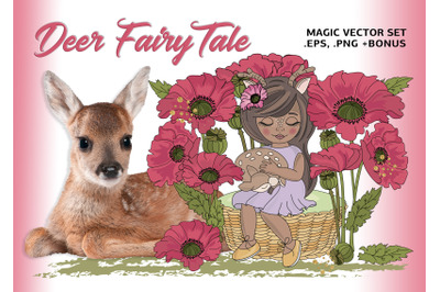 DEER FAIRY TALE Cartoon Clipart Vector Illustration Set