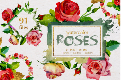 Roses Watercolor Set, Hand Painted, Free Commercial Use, Personal Use,