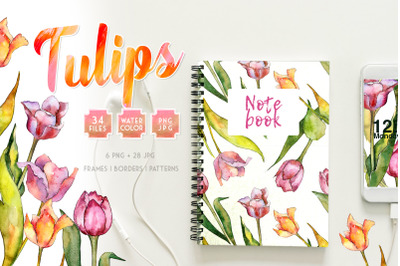 Tulips Watercolor Clipart, Digital Flowers, Clipart, Hand Painted, Fre