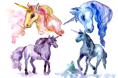 Colorful Watercolor Unicorn Clipart, Free Commercial Use, Hand Painted