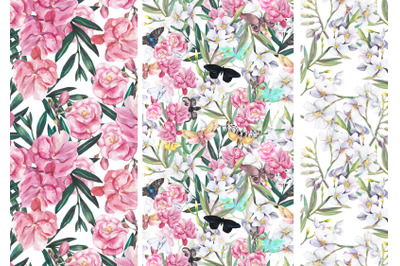 3 seamless blooming patterns with butterflies and moths