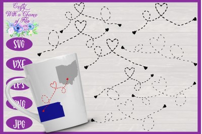 Heart Dashed Lines SVG | Long Distance SVG | Miles Apart SVG