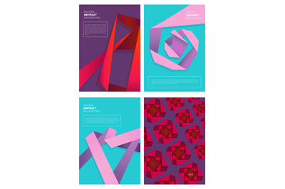 Abstract magazine covers. Modern colored shapes gradient forms geometr
