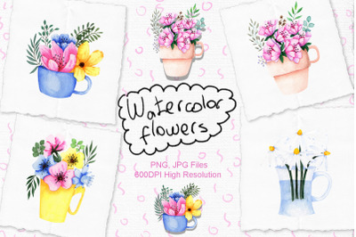 Watercolor Flowers in Cup
