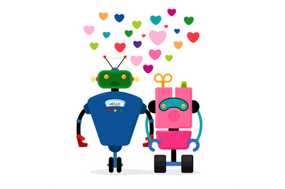 Robot love story vector illustration