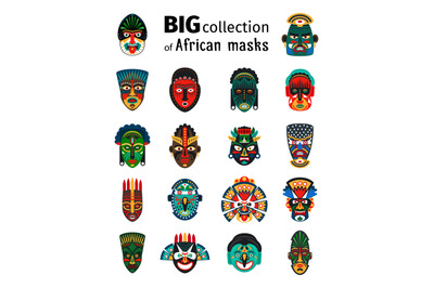 Tribal african masks set