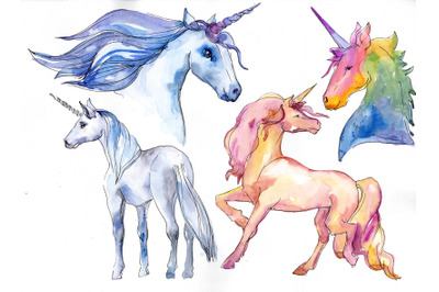 Watercolor Unicorn Clipart, Free Commercial Use, Hand Painted, Digital