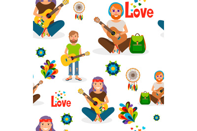 Hippie people with guitar seamless pattern
