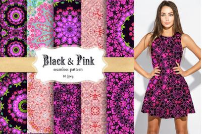 Black & Pink Seamless Patterns ,Digital paper packs