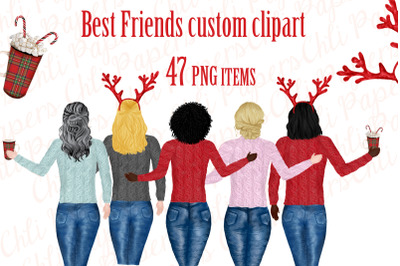 Girl best friend clipart, Christmas clipart,Holiday clipart