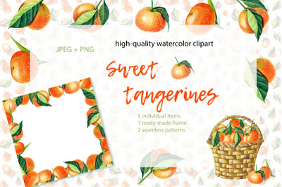 Sweet Tangerines. Watercolor clip-art.