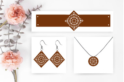 set jewelry and earrings svg cut file, earrings silhouette, earrings