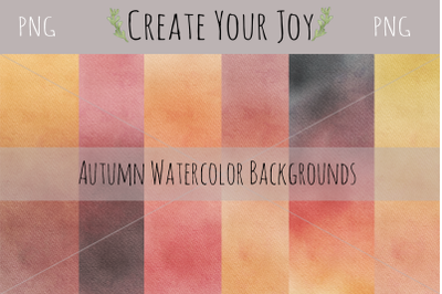 Watercolor Autumn Fall Backgrounds Square | 6 PNG