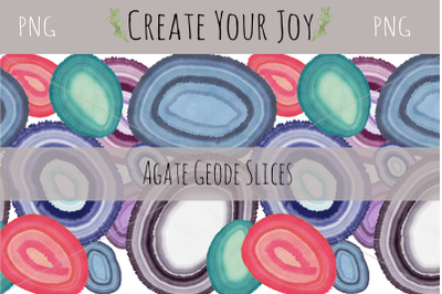 Agate Geode Slices with Seamless Pattern | 6 PNGs