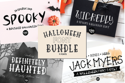 Halloween Font Bundle, Hand Lettered 4 .OTF Fonts